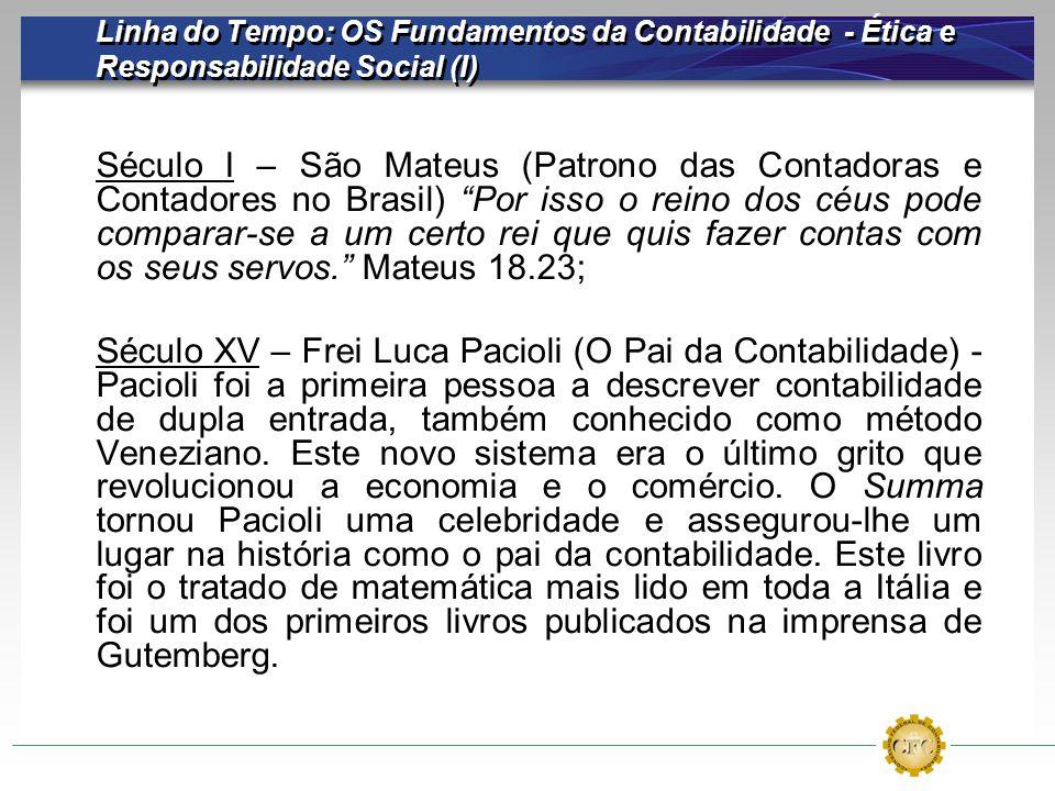 Linha do Tempo: OS Fundamentos da Contabilidade - Ética e Responsabilidade Social (I) Século I – São Mateus (Patrono das Contadoras e Contadores no Br