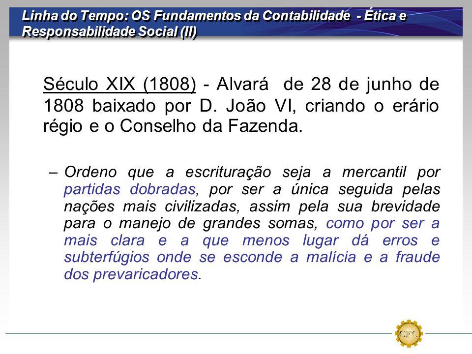 Linha do Tempo: OS Fundamentos da Contabilidade - Ética e Responsabilidade Social (II) Século XIX (1808) - Alvará de 28 de junho de 1808 baixado por D
