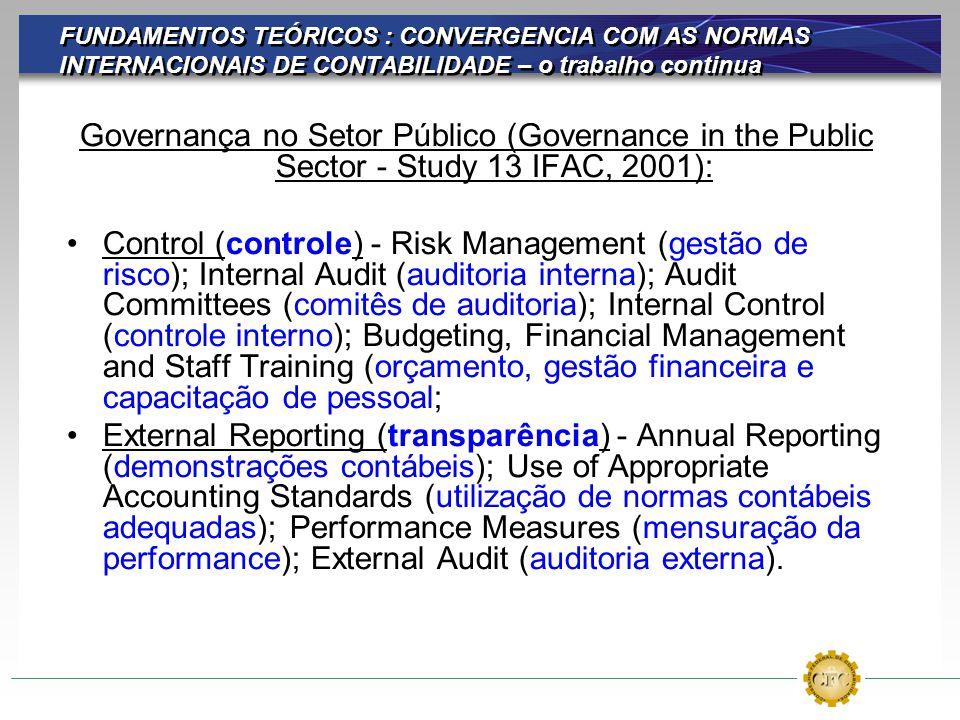 FUNDAMENTOS TEÓRICOS : CONVERGENCIA COM AS NORMAS INTERNACIONAIS DE CONTABILIDADE – o trabalho continua Governança no Setor Público (Governance in the