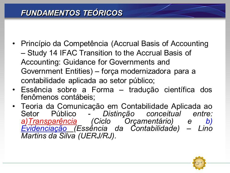 FUNDAMENTOS TEÓRICOS Princípio da Competência (Accrual Basis of Accounting – Study 14 IFAC Transition to the Accrual Basis of Accounting: Guidance for