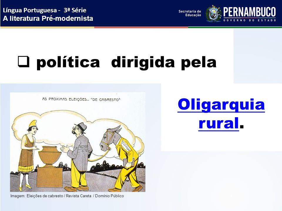 Oligarquia ruralOligarquia rural.  política dirigida pela Língua Portuguesa - 3ª Série A literatura Pré-modernista Imagem: Eleições de cabresto / Rev