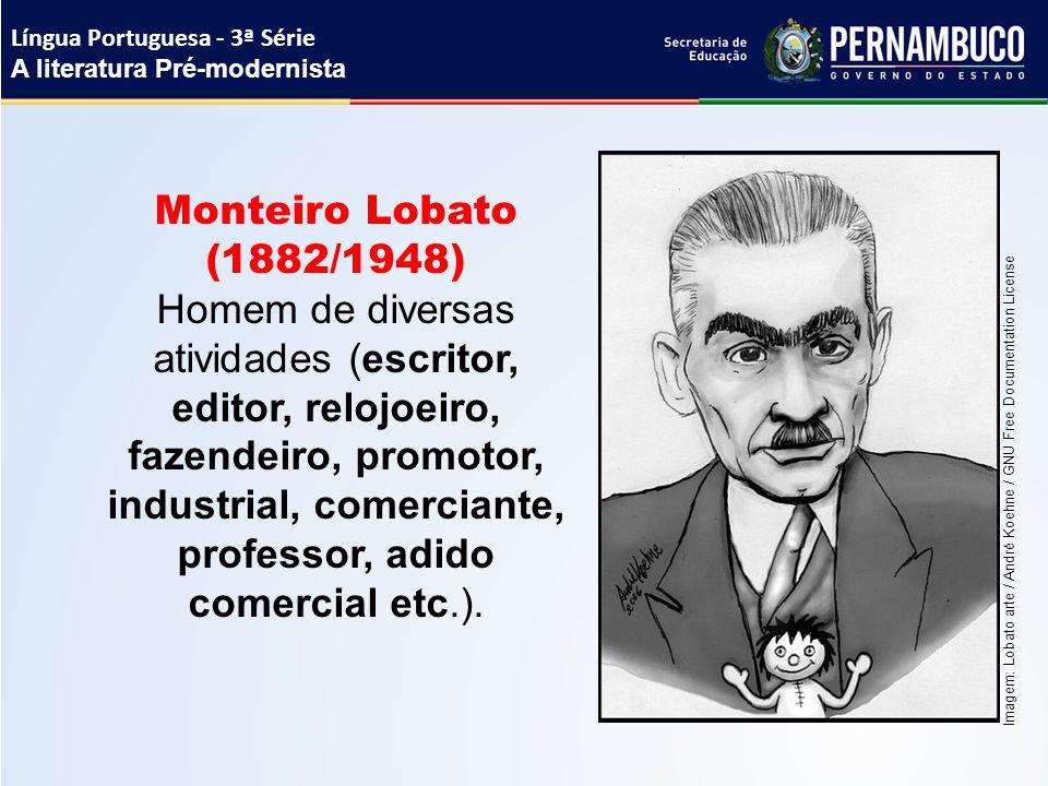 Monteiro Lobato (1882/1948) Homem de diversas atividades (escritor, editor, relojoeiro, fazendeiro, promotor, industrial, comerciante, professor, adid