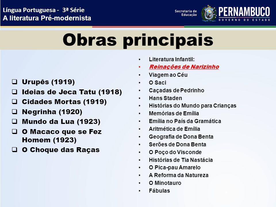 Obras principais  Urupês (1919)  Ideias de Jeca Tatu (1918)  Cidades Mortas (1919)  Negrinha (1920)  Mundo da Lua (1923)  O Macaco que se Fez Ho