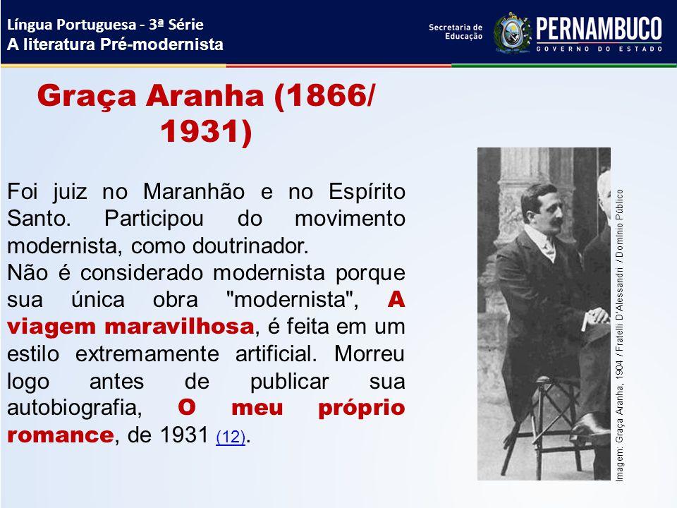 Graça Aranha (1866/ 1931) Foi juiz no Maranhão e no Espírito Santo. Participou do movimento modernista, como doutrinador. Não é considerado modernista