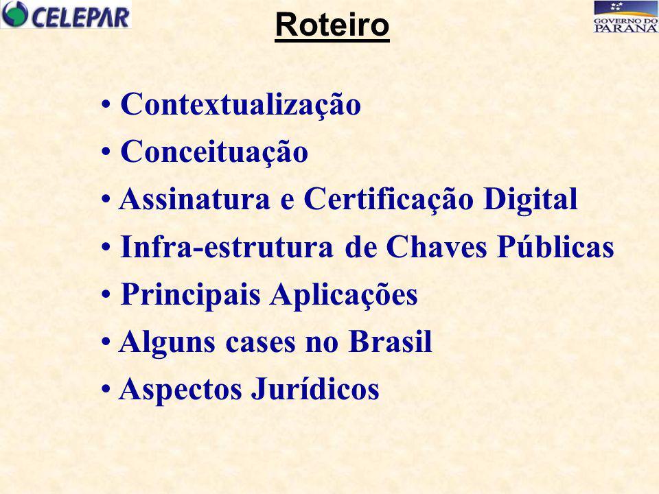 Contextualização Conceituação Assinatura e Certificação Digital Infra-estrutura de Chaves Públicas Principais Aplicações Alguns cases no Brasil Aspect