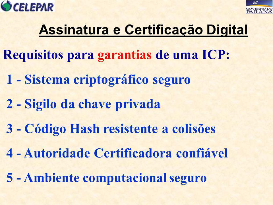 Requisitos para garantias de uma ICP: 1 - Sistema criptográfico seguro 2 - Sigilo da chave privada 3 - Código Hash resistente a colisões 4 - Autoridad