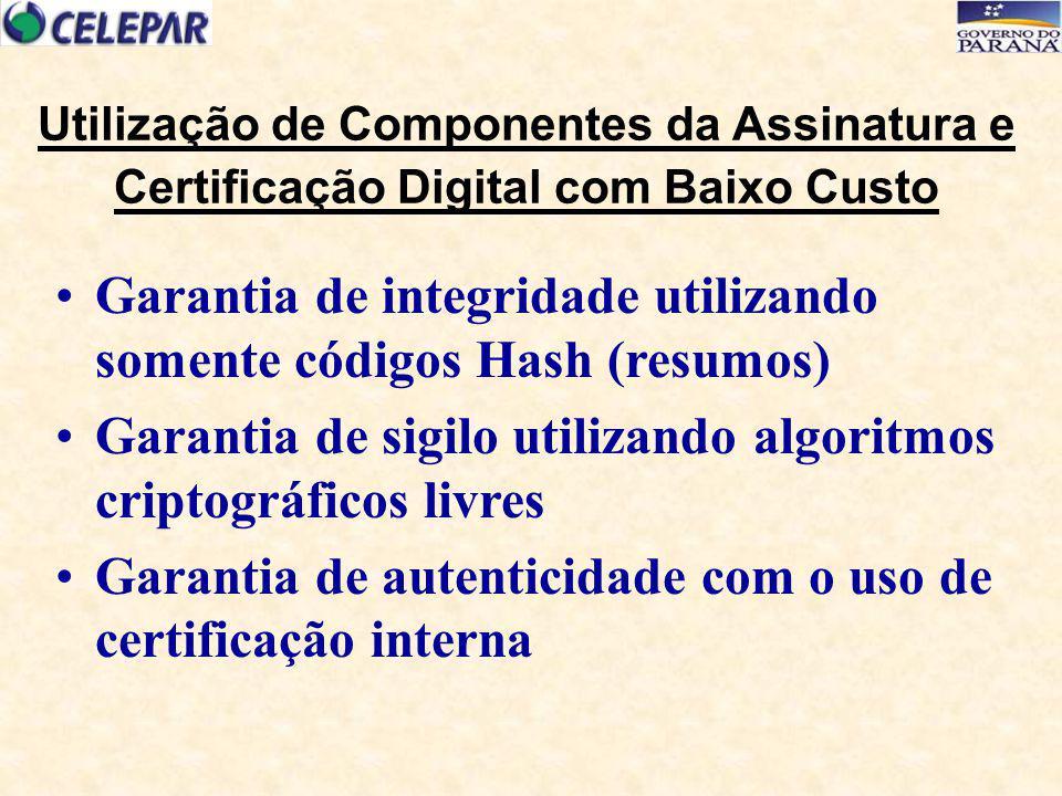 Utilização de Componentes da Assinatura e Certificação Digital com Baixo Custo Garantia de integridade utilizando somente códigos Hash (resumos) Garan