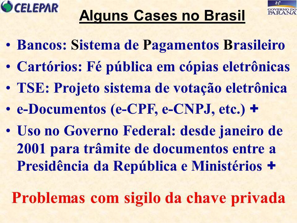 Alguns Cases no Brasil Bancos: Sistema de Pagamentos Brasileiro Cartórios: Fé pública em cópias eletrônicas TSE: Projeto sistema de votação eletrônica