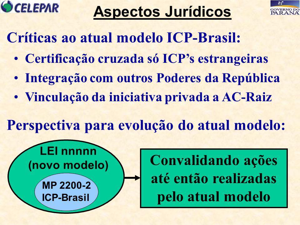 Certificação cruzada só ICP's estrangeiras Integração com outros Poderes da República Vinculação da iniciativa privada a AC-Raiz Críticas ao atual mod