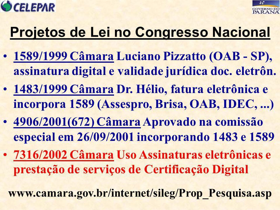 1589/1999 Câmara Luciano Pizzatto (OAB - SP), assinatura digital e validade jurídica doc. eletrôn. 1483/1999 Câmara Dr. Hélio, fatura eletrônica e inc
