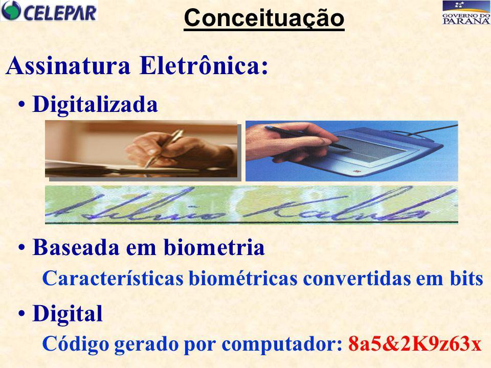 Digitalizada Digital Código gerado por computador: 8a5&2K9z63x Baseada em biometria Características biométricas convertidas em bits Assinatura Eletrôn