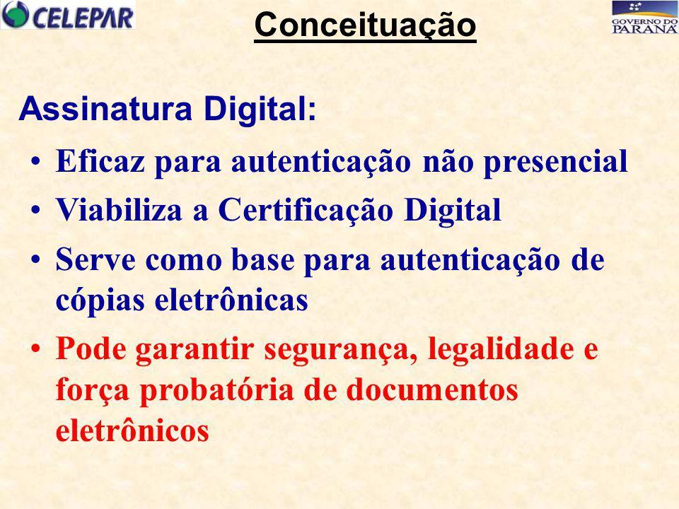 Eficaz para autenticação não presencial Viabiliza a Certificação Digital Serve como base para autenticação de cópias eletrônicas Pode garantir seguran