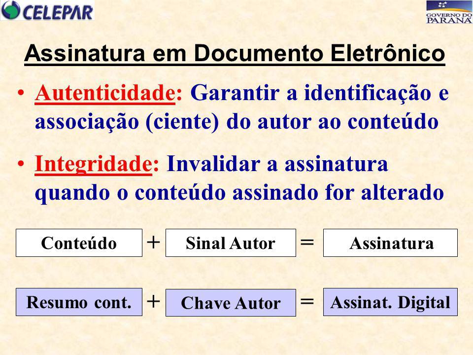 Garante a identificação do assinante e/ou remetente (autenticidade e não repúdio) Possibilita a qualquer momento verificar se o conteúdo foi alterado (integridade) Pode garantir o sigilo (com criptografia) É o principal componente de uma ICP Assinatura Digital Protocolos, padrões e serviços para aplicação de criptografia de chaves públicas e estabelece a identidade de um usuário para autenticação