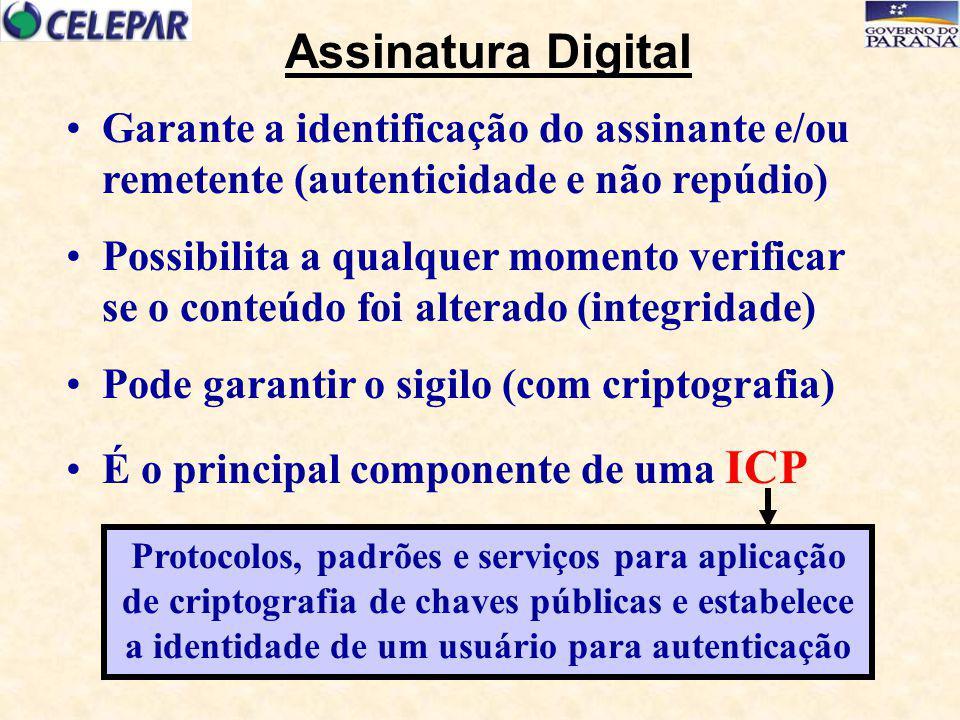 Certificação Digital Expedição e controle de Certificados Digitais (carteiras de identidade eletrônicas) por Autoridades Certificadoras – AC's Componente de confiança (ISO X509v3) Permite a qualquer momento atestar a titularidade de uma chave criptográfica Vinculação entre Certificado e titular, garantida pela Autoridade de Registro +++ Garantia de Autenticidade +++