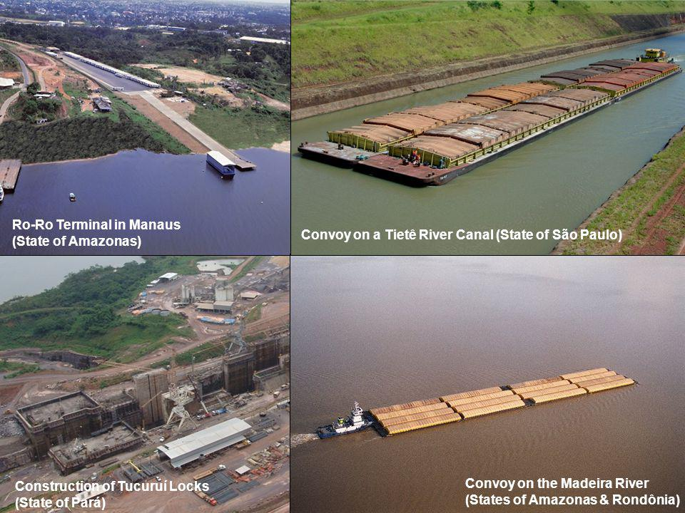 Ro-Ro Terminal in Manaus (State of Amazonas) Convoy on the Madeira River (States of Amazonas & Rondônia) Construction of Tucuruí Locks (State of Pará) Convoy on a Tietê River Canal (State of São Paulo)