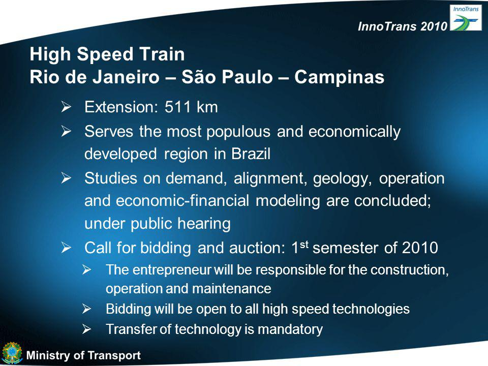 High Speed Train Rio de Janeiro – São Paulo – Campinas  Extension: 511 km  Serves the most populous and economically developed region in Brazil  Studies on demand, alignment, geology, operation and economic-financial modeling are concluded; under public hearing  Call for bidding and auction: 1 st semester of 2010  The entrepreneur will be responsible for the construction, operation and maintenance  Bidding will be open to all high speed technologies  Transfer of technology is mandatory