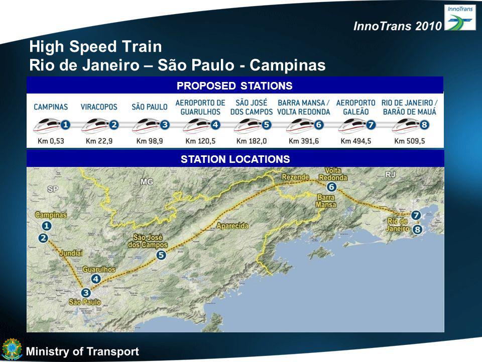 High Speed Train Rio de Janeiro – São Paulo - Campinas STATION LOCATIONS PROPOSED STATIONS