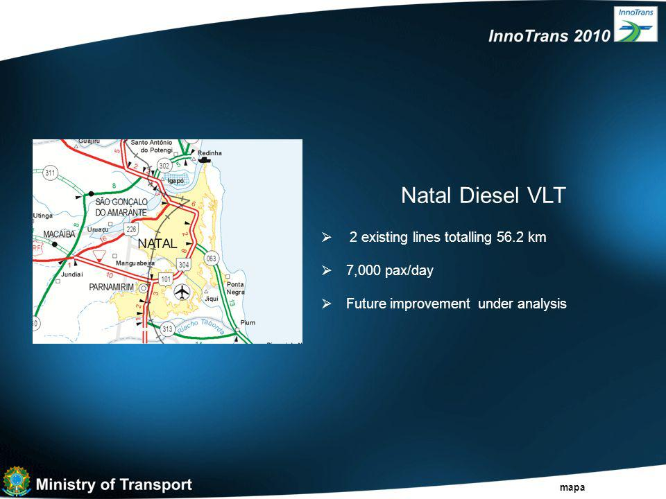 Natal Diesel VLT  2 existing lines totalling 56.2 km  7,000 pax/day  Future improvement under analysis mapa