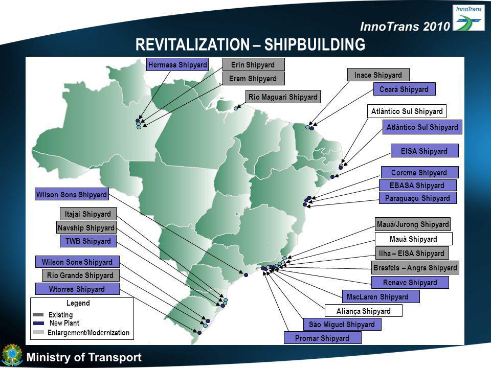 REVITALIZATION – SHIPBUILDING Rio Grande Shipyard Itajaí Shipyard Wilson Sons Shipyard TWB Shipyard Wilson Sons Shipyard Wtorres Shipyard Existing New