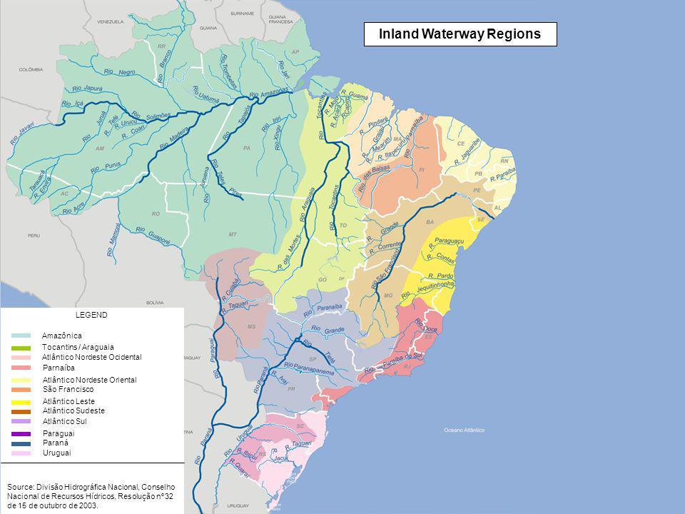 Source: Divisão Hidrográfica Nacional, Conselho Nacional de Recursos Hídricos, Resolução nº 32 de 15 de outubro de 2003.