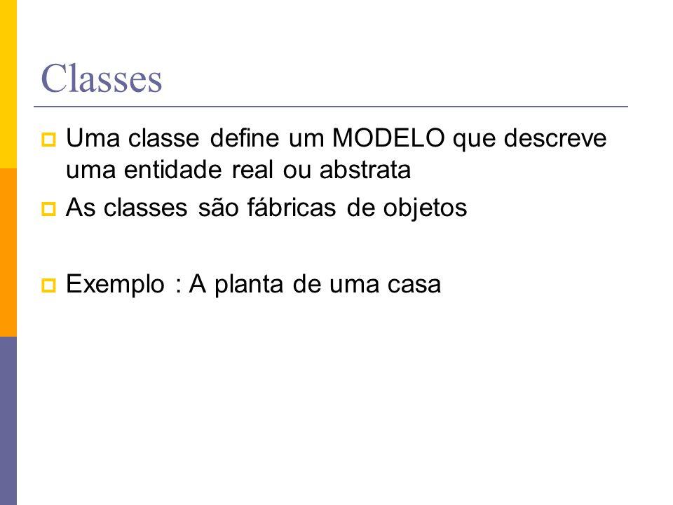 Classes  Uma classe define um MODELO que descreve uma entidade real ou abstrata  As classes são fábricas de objetos  Exemplo : A planta de uma casa