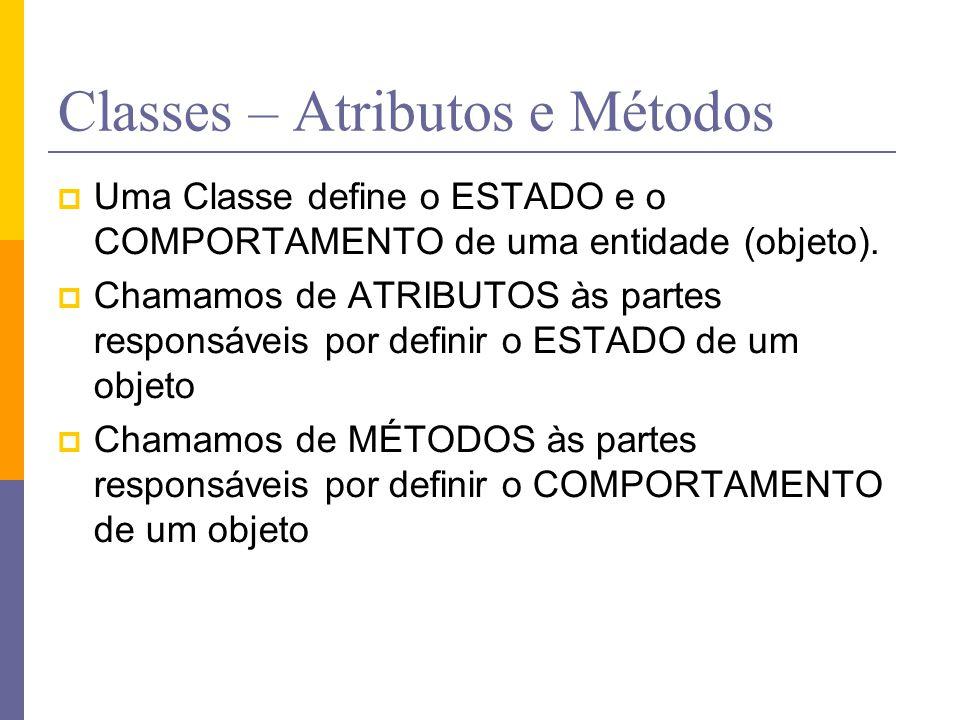 Classes – Atributos e Métodos  Uma Classe define o ESTADO e o COMPORTAMENTO de uma entidade (objeto).  Chamamos de ATRIBUTOS às partes responsáveis