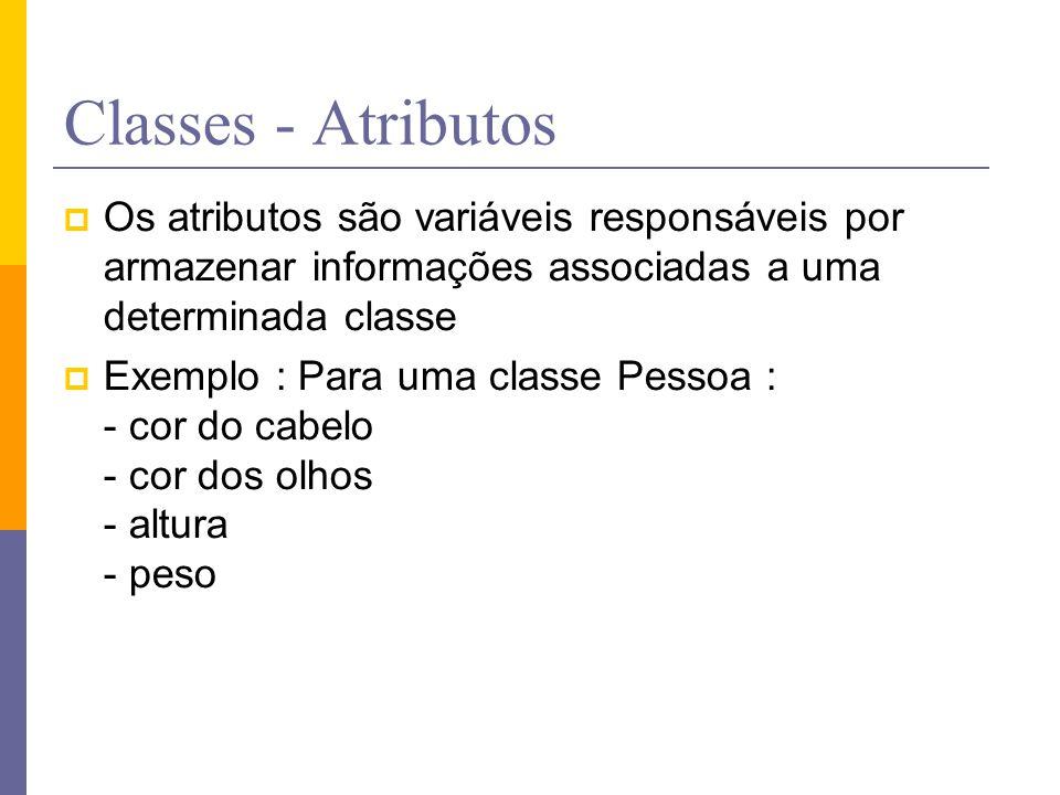 Classes - Atributos  Os atributos são variáveis responsáveis por armazenar informações associadas a uma determinada classe  Exemplo : Para uma class