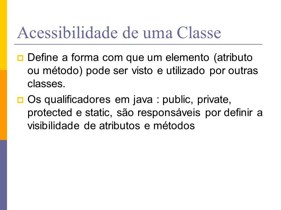 Acessibilidade de uma Classe  Define a forma com que um elemento (atributo ou método) pode ser visto e utilizado por outras classes.  Os qualificado