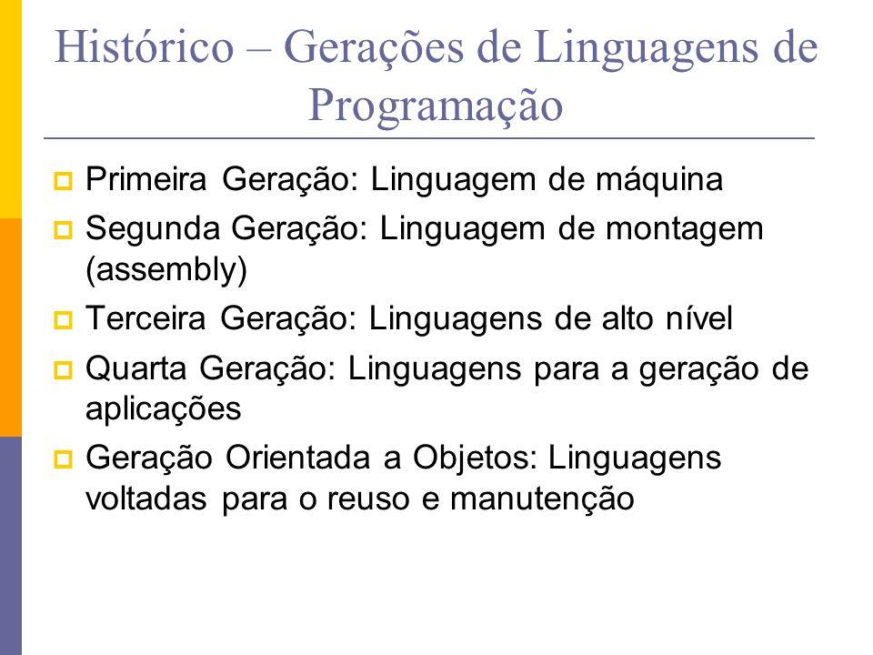 Histórico – Gerações de Linguagens de Programação  Primeira Geração: Linguagem de máquina  Segunda Geração: Linguagem de montagem (assembly)  Terce