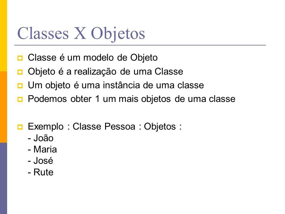 Classes X Objetos  Classe é um modelo de Objeto  Objeto é a realização de uma Classe  Um objeto é uma instância de uma classe  Podemos obter 1 um