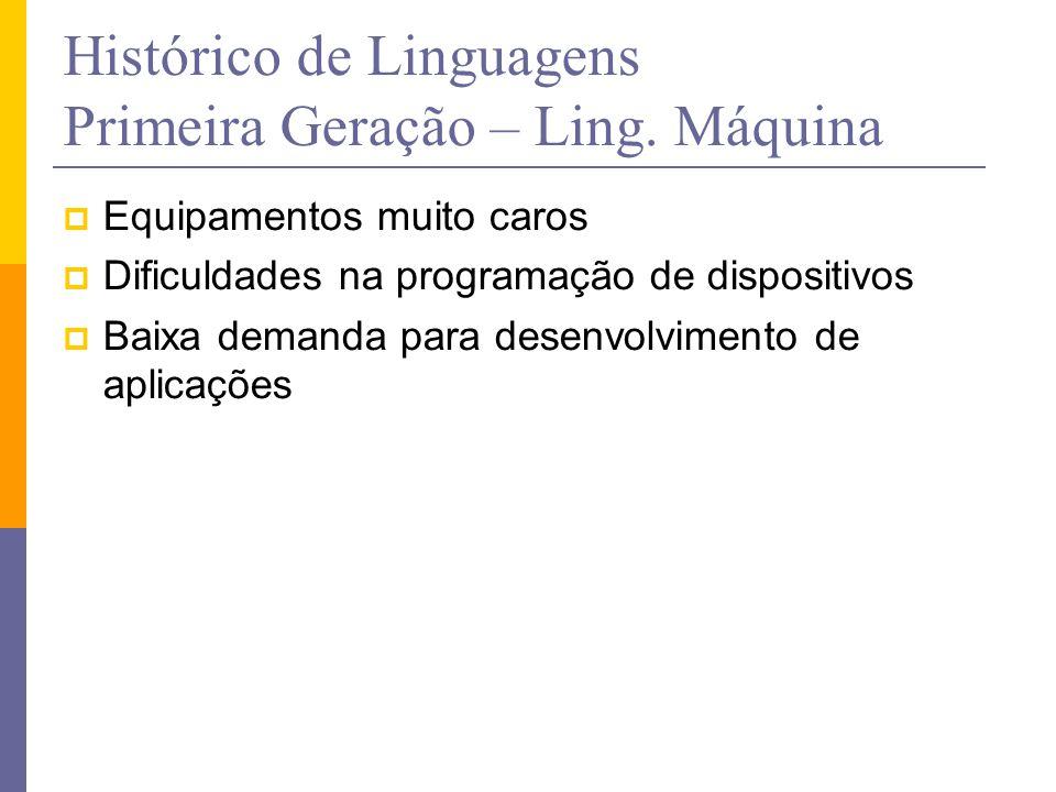 Histórico de Linguagens Primeira Geração – Ling. Máquina  Equipamentos muito caros  Dificuldades na programação de dispositivos  Baixa demanda para