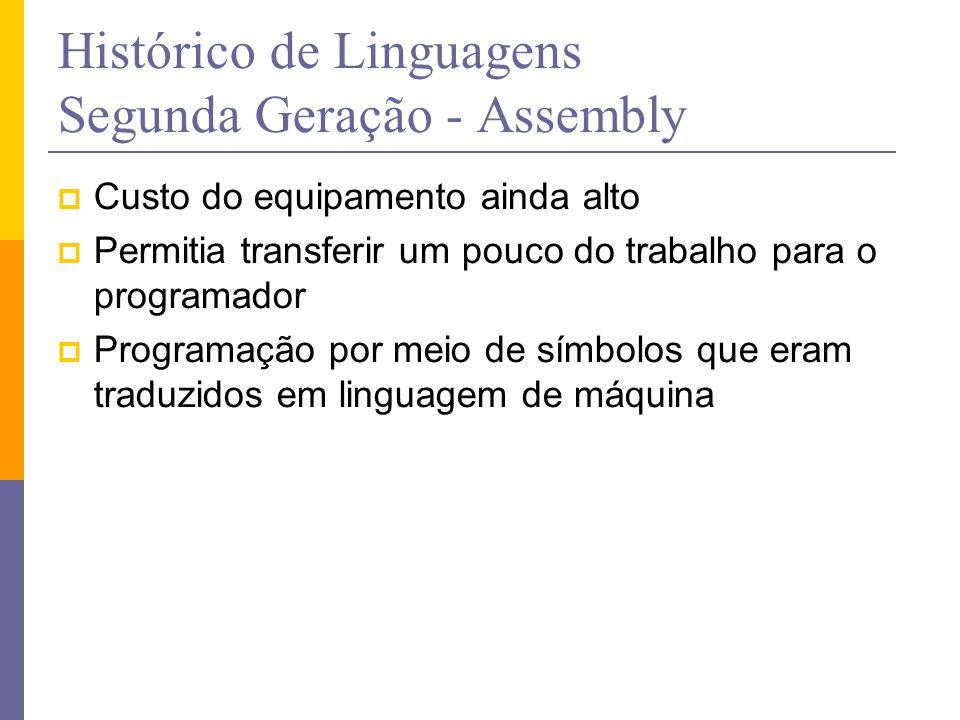 Histórico de Linguagens Segunda Geração - Assembly  Custo do equipamento ainda alto  Permitia transferir um pouco do trabalho para o programador  P