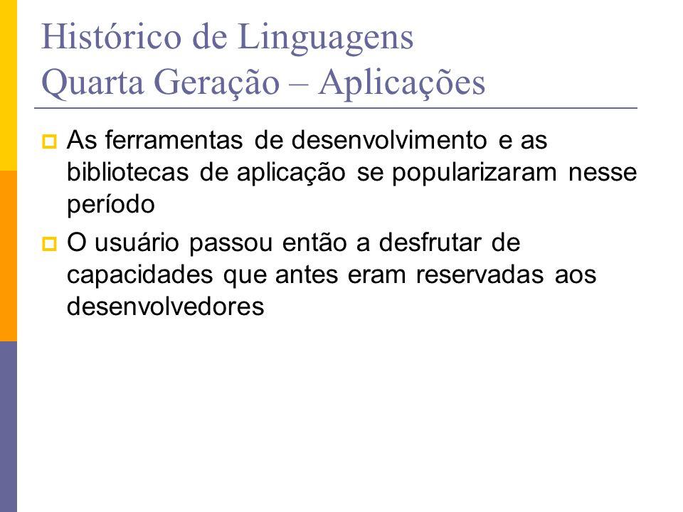 Histórico de Linguagens Quarta Geração – Aplicações  As ferramentas de desenvolvimento e as bibliotecas de aplicação se popularizaram nesse período 