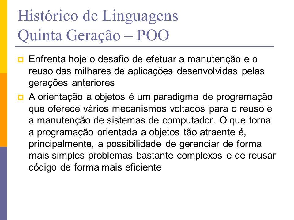 Histórico de Linguagens Quinta Geração – POO  Enfrenta hoje o desafio de efetuar a manutenção e o reuso das milhares de aplicações desenvolvidas pela