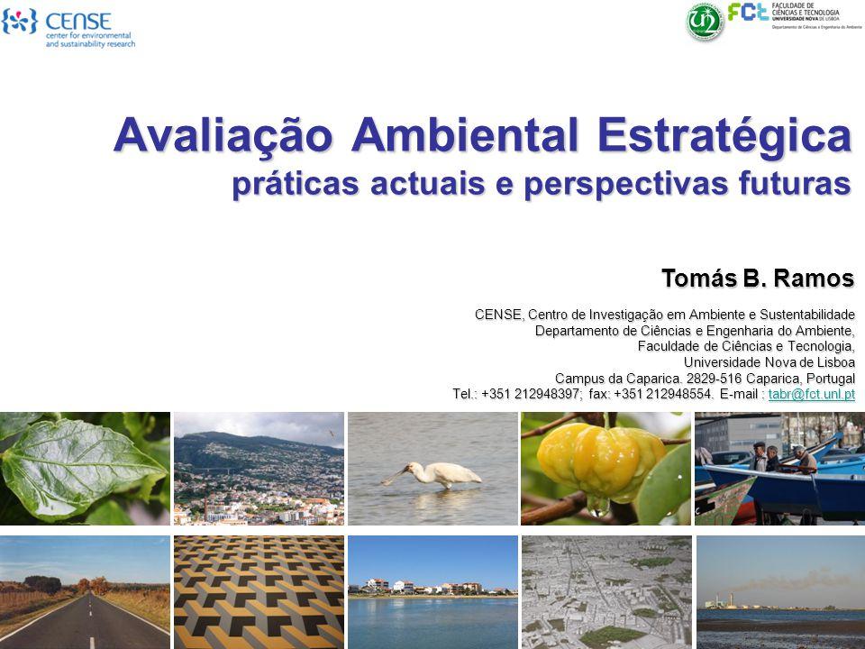 Avaliação Ambiental Estratégica práticas actuais e perspectivas futuras Tomás B. Ramos CENSE, Centro de Investigação em Ambiente e Sustentabilidade De