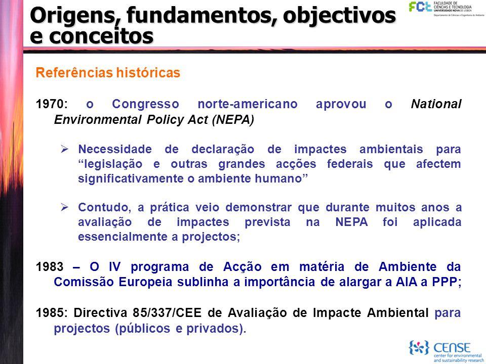 Referências históricas 1970: o Congresso norte-americano aprovou o National Environmental Policy Act (NEPA)  Necessidade de declaração de impactes am