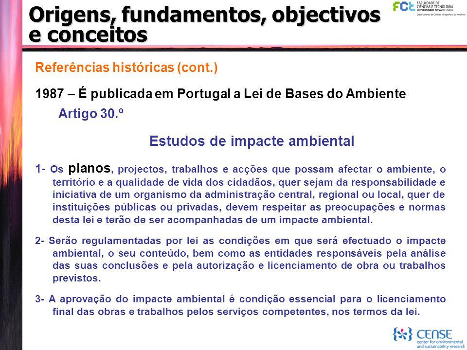 Origens, fundamentos, objectivos e conceitos Referências históricas (cont.) 1987 – É publicada em Portugal a Lei de Bases do Ambiente Artigo 30.º Estu