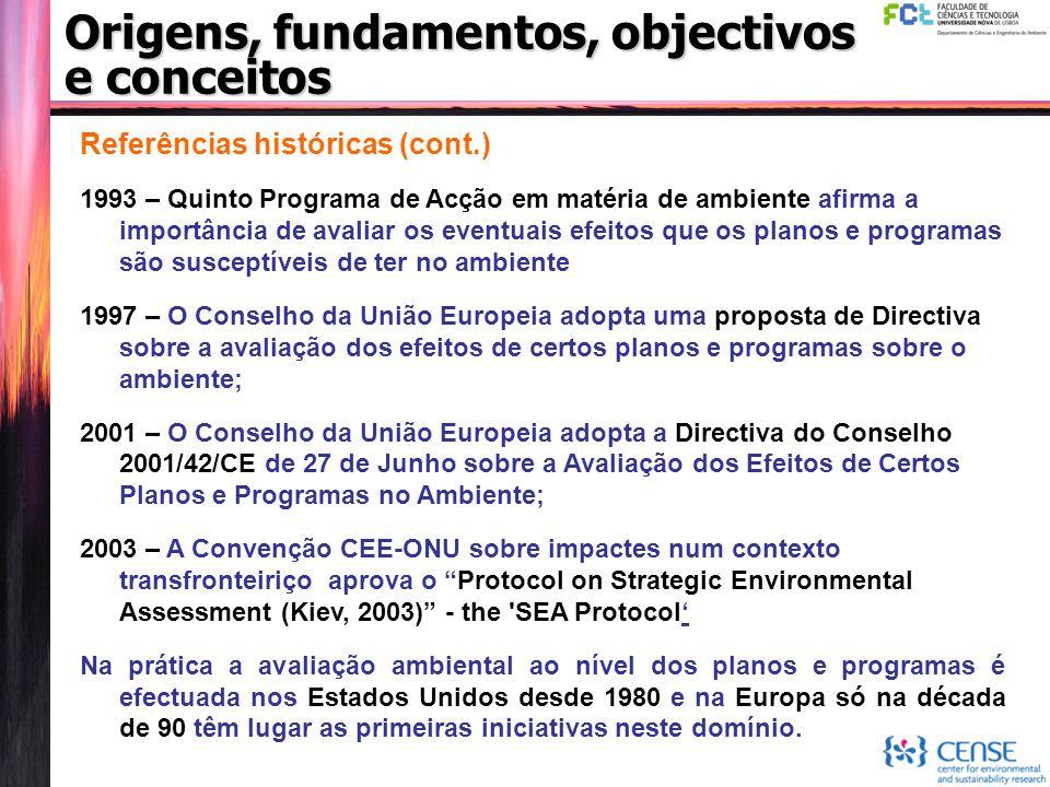 Origens, fundamentos, objectivos e conceitos Referências históricas (cont.) 1993 – Quinto Programa de Acção em matéria de ambiente afirma a importânci