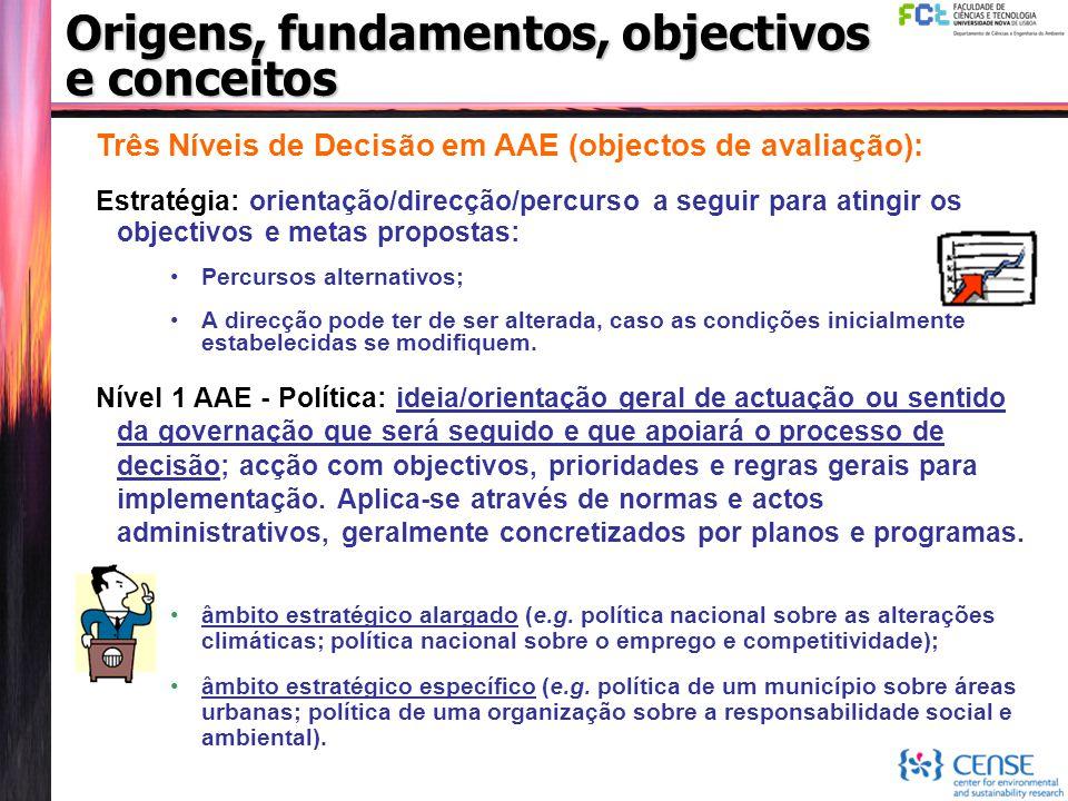 Três Níveis de Decisão em AAE (objectos de avaliação): Estratégia: orientação/direcção/percurso a seguir para atingir os objectivos e metas propostas: