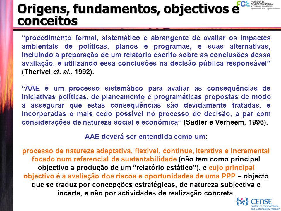 """Origens, fundamentos, objectivos e conceitos """"procedimento formal, sistemático e abrangente de avaliar os impactes ambientais de políticas, planos e p"""