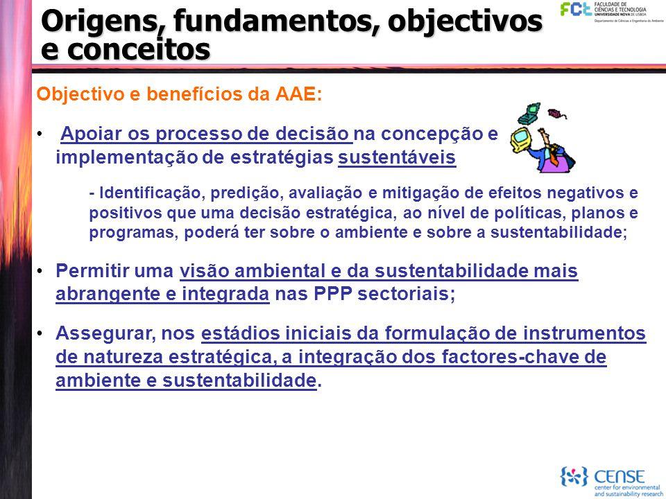Origens, fundamentos, objectivos e conceitos Objectivo e benefícios da AAE: Apoiar os processo de decisão na concepção e implementação de estratégias
