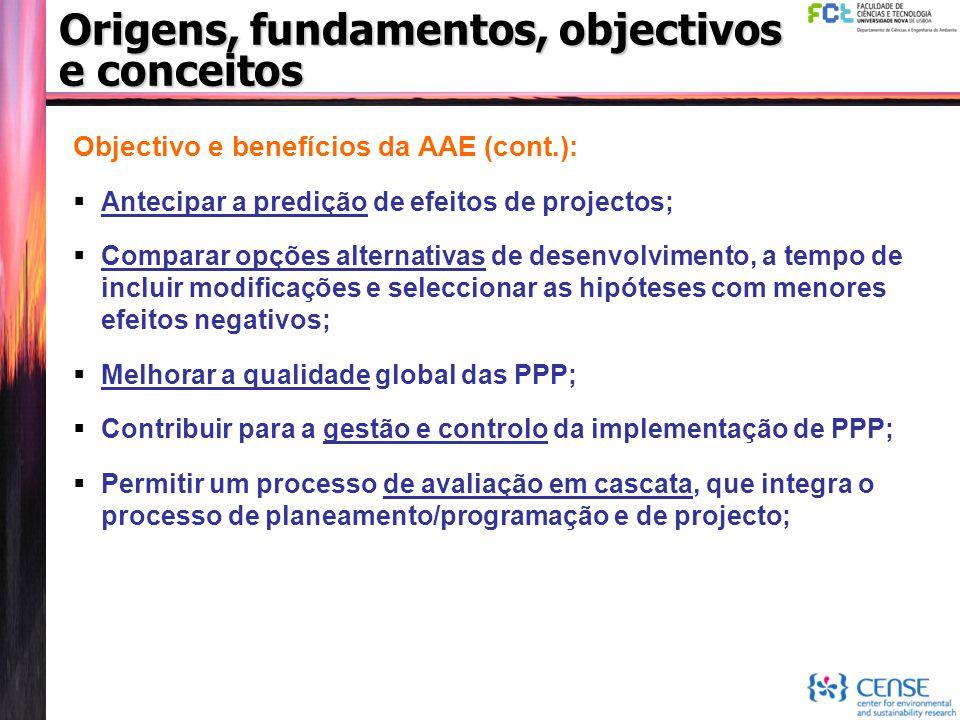 Origens, fundamentos, objectivos e conceitos Objectivo e benefícios da AAE (cont.):  Antecipar a predição de efeitos de projectos;  Comparar opções