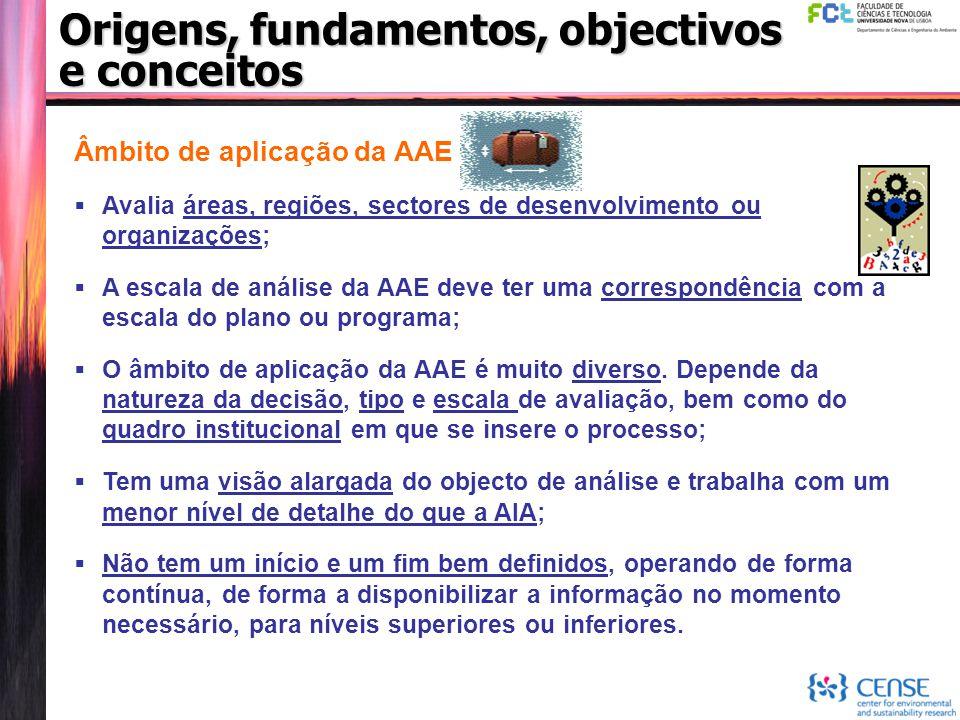 Origens, fundamentos, objectivos e conceitos Âmbito de aplicação da AAE  Avalia áreas, regiões, sectores de desenvolvimento ou organizações;  A esca