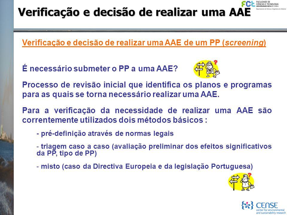 Verificação e decisão de realizar uma AAE Verificação e decisão de realizar uma AAE de um PP (screening) É necessário submeter o PP a uma AAE? Process