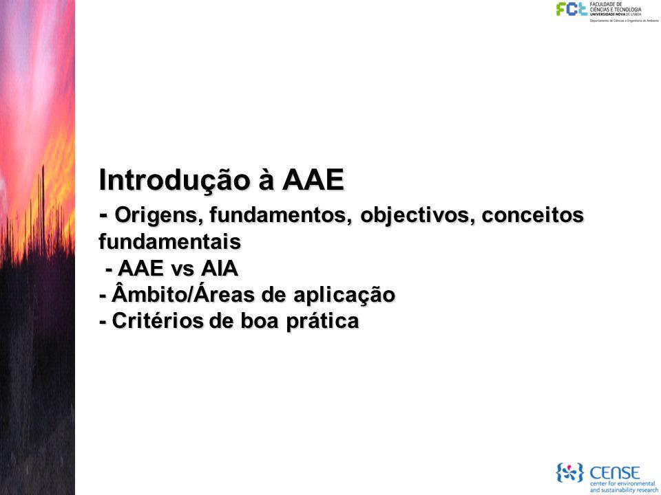 Introdução à AAE - Origens, fundamentos, objectivos, conceitos fundamentais - AAE vs AIA - Âmbito/Áreas de aplicação - Critérios de boa prática