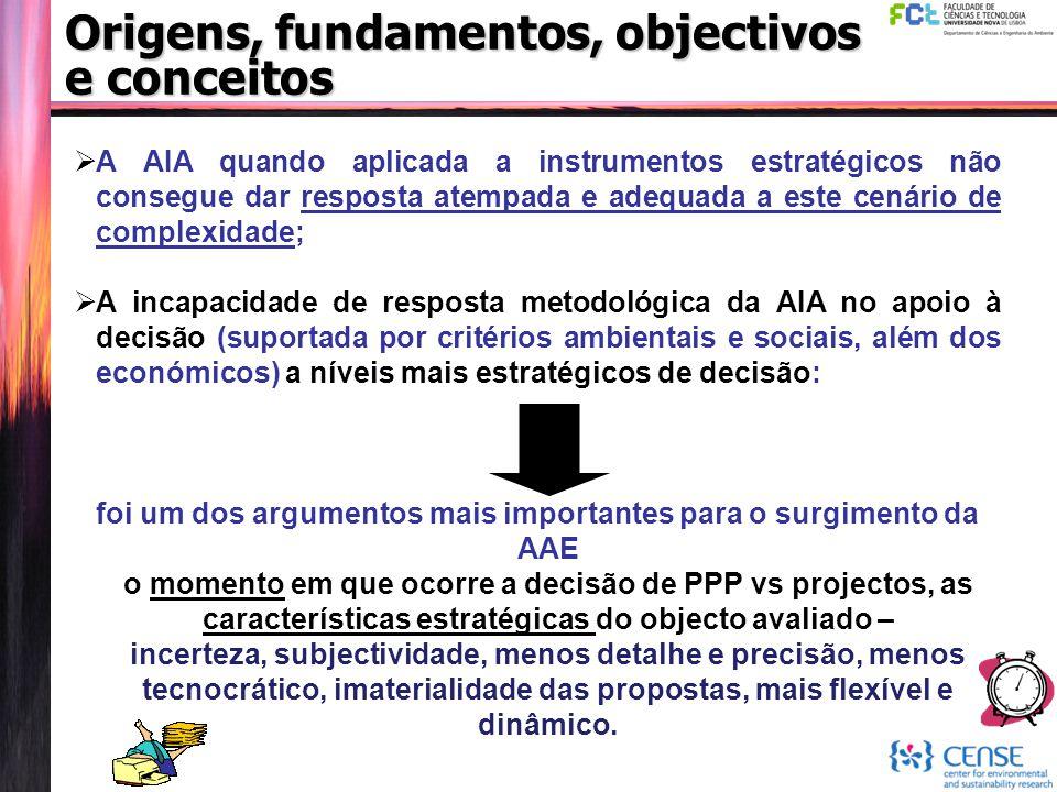 Origens, fundamentos, objectivos e conceitos  A AIA quando aplicada a instrumentos estratégicos não consegue dar resposta atempada e adequada a este