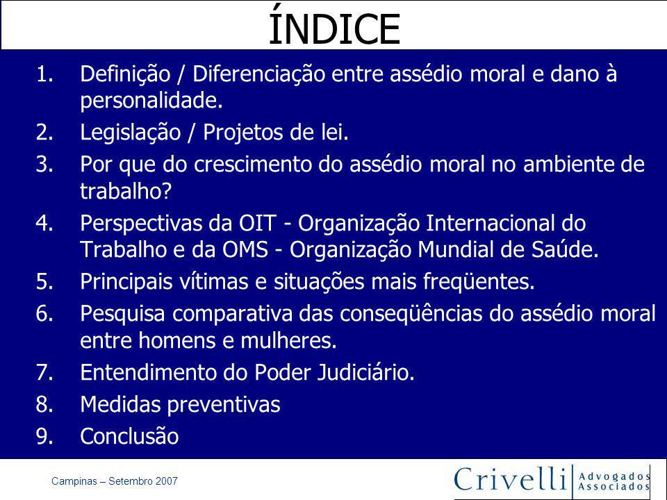 Campinas – Setembro 2007 ÍNDICE 1.Definição / Diferenciação entre assédio moral e dano à personalidade.