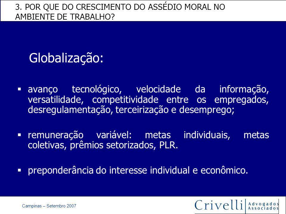 Campinas – Setembro 2007 3. POR QUE DO CRESCIMENTO DO ASSÉDIO MORAL NO AMBIENTE DE TRABALHO.