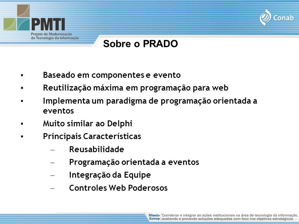 Sobre o PRADO Baseado em componentes e evento Reutilização máxima em programação para web Implementa um paradigma de programação orientada a eventos M