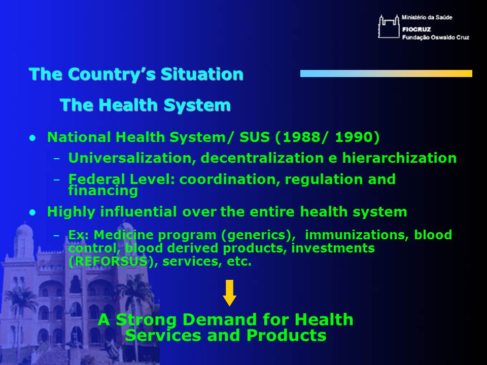 Health Industrial Complex Pharmaceutical Industry Drugs / Medications Medical equipment and medical products industry Non-electric/electronic devices Eletric/electronic devices Prosthetics and orthotics Consumer goods Vaccine Industry Blood-derived products Diagnostic Reagents Industry Public Private Philanthtopy Service Sector Product Manufacturing Industries Source: ECIB-COMPLEXO DA SAÚDE, 2002 G O V E R N M E N T - P R O M O T I O N A N D R E G U L A T I O N